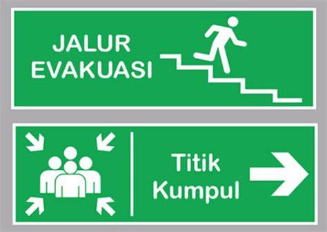 layout jalur evakuasi pesan sticker tangerang