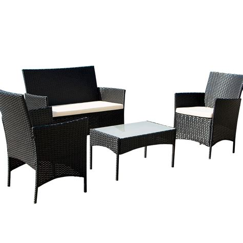 black wicker loveseat 4pcs outdoor black rattan wicker sofa set cushioned garden