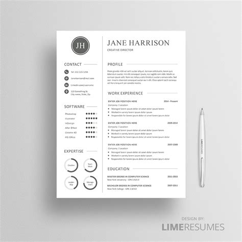 Professional Cv Template Matching Cover Letter Reference Page Free Matching Cover Letter And Resume Templates