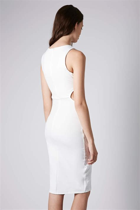 Puff Pendant Necklace From Topshop by Lyst Topshop Midi Lace Puff Print Bodycon Dress In White