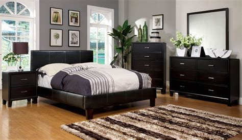 winn park contemporary espresso platform bedroom set with padded leatherette cm7008