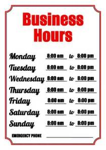 Business Hours Sign Template business hours sign template how to make a business hours