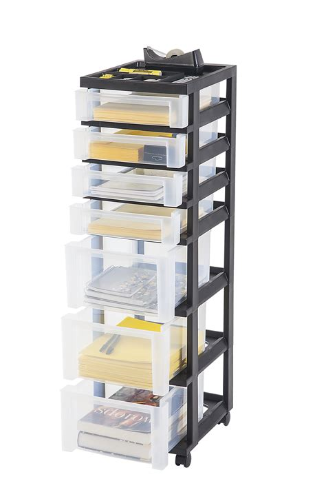 Iris 7 Drawer Storage Cart with Organizer Top Black
