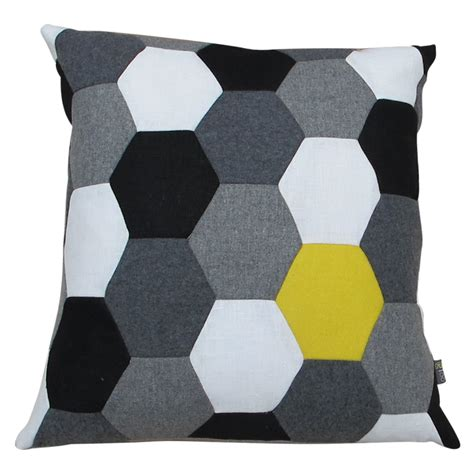 black and white cusions 187 black white canary hexagon cushion design