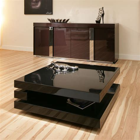 coffee end side l table square black gloss modern