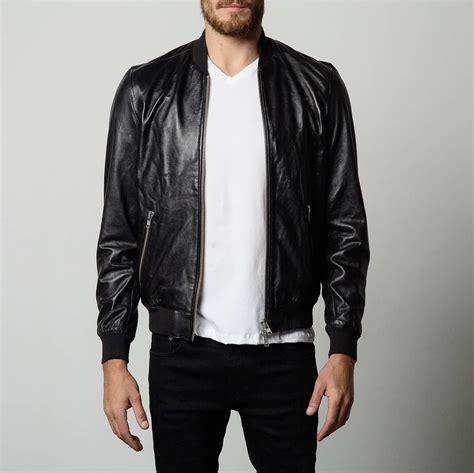 Leather Bomber Jacket mens leather bomber jacket in black dstld