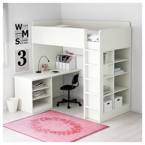 Bunk Beds With Desk Ikea Stuva Loft Bed Combo W 2 Shlvs 3 Shlvs White 207x99x193 Cm Ikea