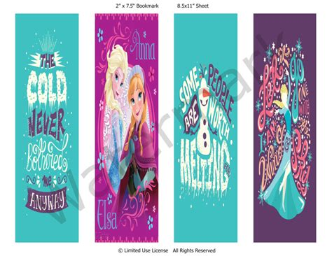 printable frozen bookmarks frozen anna and elsa bookmarks