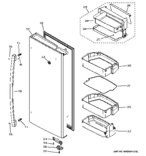 ge adora refrigerator parts diagram within ge fridge parts