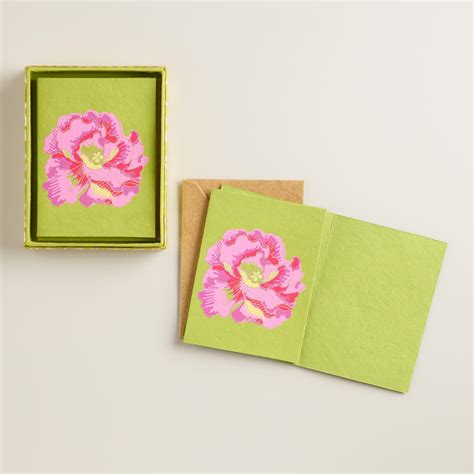 Handmade Notecards - omar print flower handmade boxed notecards set of 8