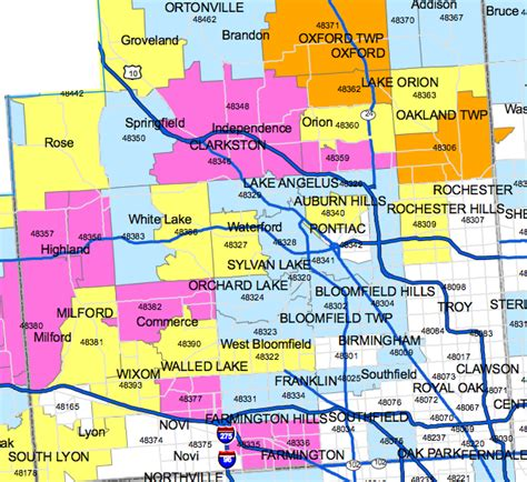 pontiac mi zip codes oakland county map gallery