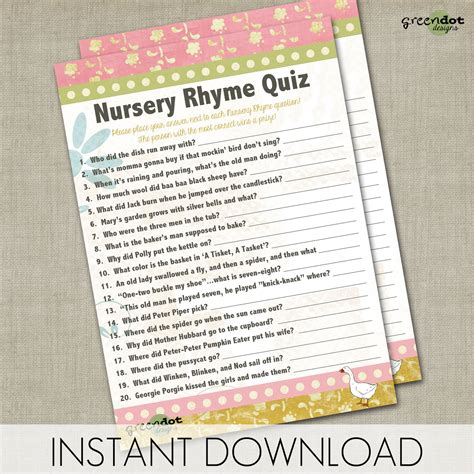 Baby Shower Nursery Rhyme Fill In The Blank by Photo Nursery Rhyme Baby Shower Image
