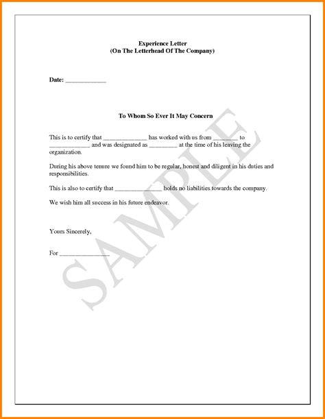 Work Experience Letter Sle Work Certificate Format Receipt For Rent Sle Sign In Sheets