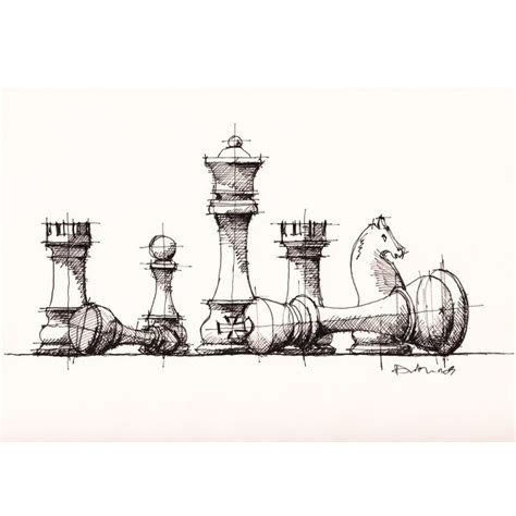 chess pieces sketch drawing chess pieces sketch