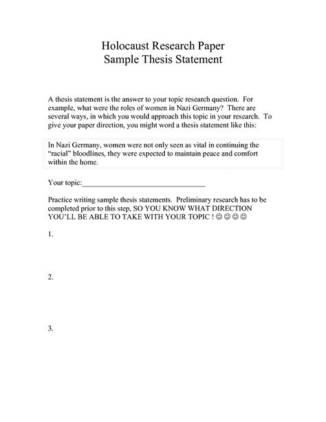 exle of thesis statement for research paper exle of a thesis statement in a research paper picture