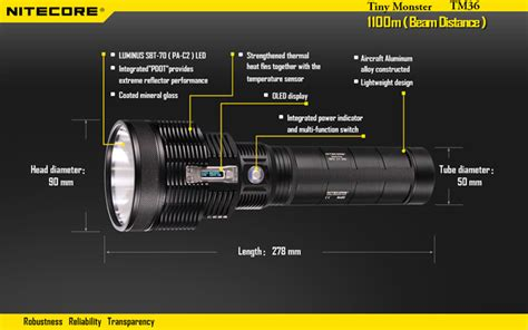 Senter Watt nitecore tm36 senter led luminus sbt 70 1800 lumens black jakartanotebook