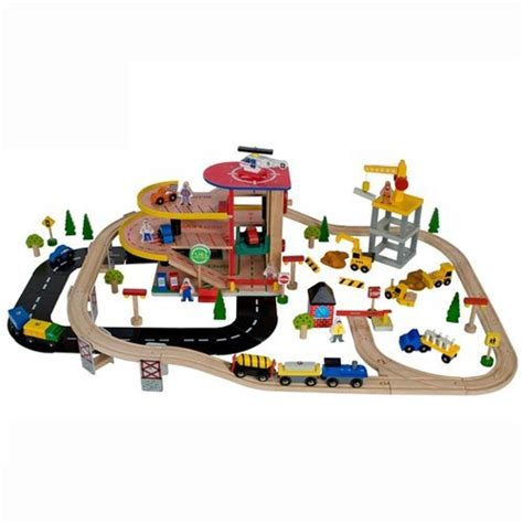 brio garage set solid wood colorful garage and train set vehicles toys