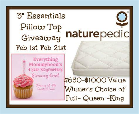 Top Giveaways - naturepedic 3 quot essentials pillow top giveaway mom blog society
