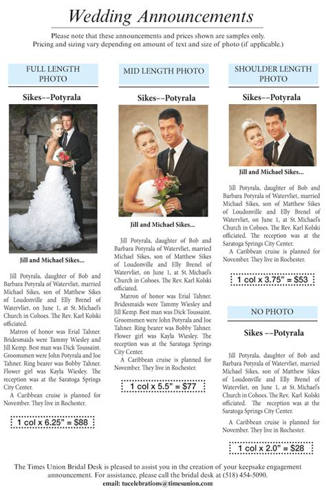 Wedding Announcements Times by Celebrations Times Union