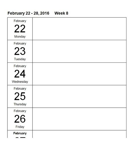 26 Blank Weekly Calendar Templates Pdf Excel Word Template Lab Weekly Calendar Template Word