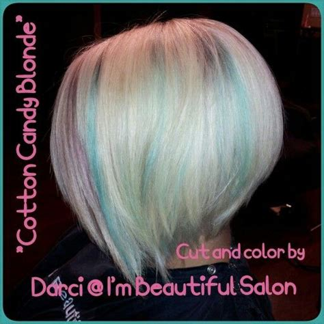 platinum bob with pastel highlights cotton candy blonde pastel blue and pink platinum