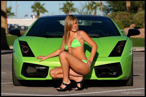 hot chick lamborghini ladies bikini cars green lamborghini gallardo sexy bikini