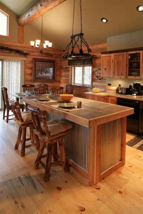 rustic cabin kitchen ideas love the floors and tin on the island future home oh