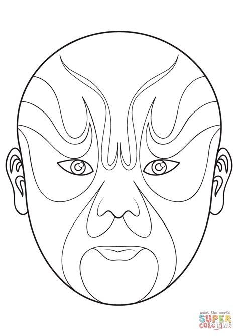 Chinese Opera Mask 5 Coloring Page Free Printable