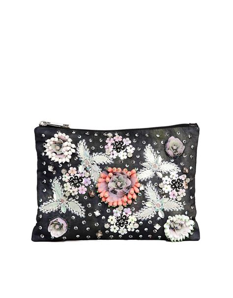 asos asos floral embellished clutch bag at asos