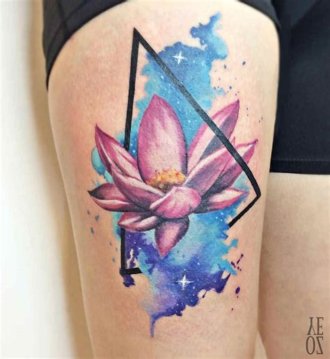 watercolor thigh tattoos lotus flower on thigh best ideas gallery