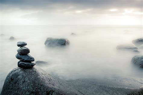 stones balance pebbles stack  sea wallpaper