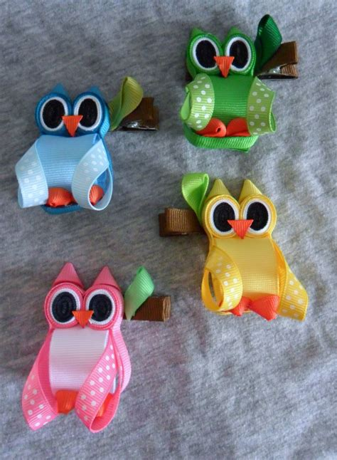 hairbows with ribbon sculpture pinterest hoot owl ribbon sculpture valentine zoo animal hair clip