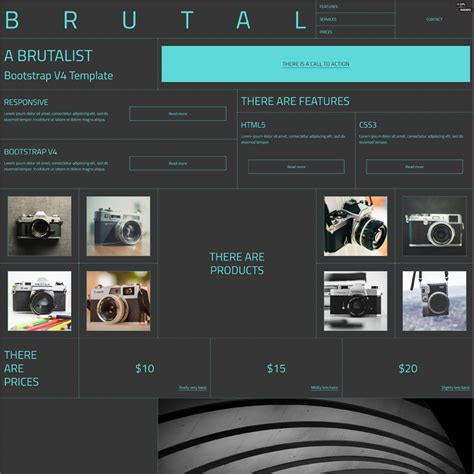 bootstrap v4 layout brutal a brutalist bootstrap v4 html template
