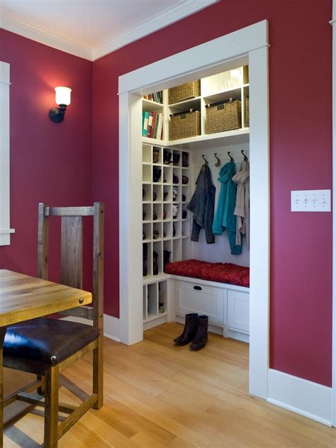 mudroom closet organization ideas create a family friendly mudroom drop zone hgtv