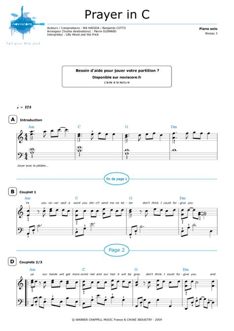 tutorial piano prayer in c partition piano prayer in c lilly wood and the prick