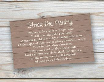 bridal shower insert card template best 25 stock the pantry shower ideas on