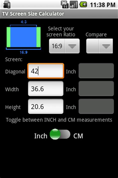 android layout width ratio tv screen size calculator android apps on google play