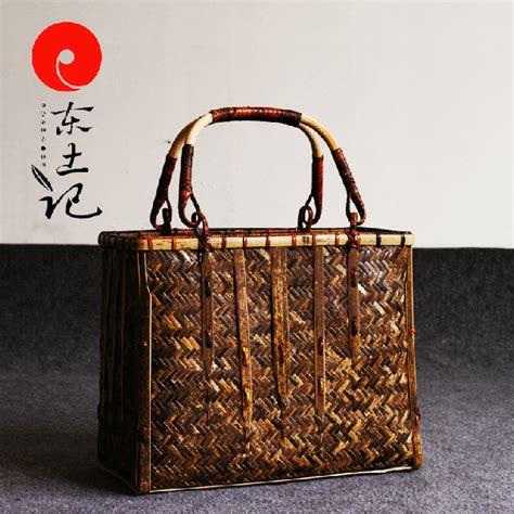 Handcraft Bag - retro bamboo weaving bag japanese handcraft artifact bags