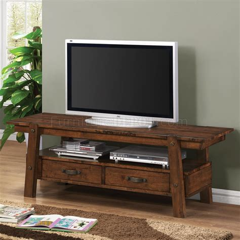 Tv Console Table 702106 Tv Stand In Rustic Pecan By Coaster