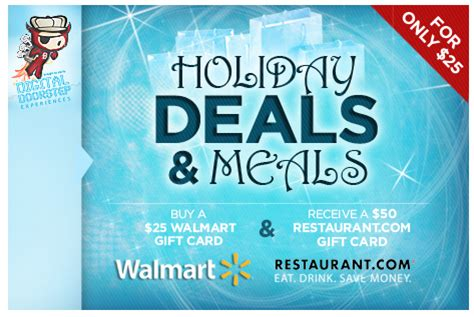 Walmart Restaurant Gift Cards - 25 walmart gift card 50 restaurant com gift card for only 25