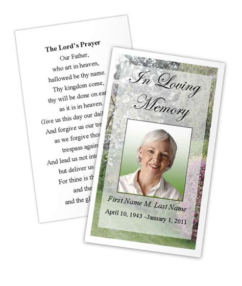 memorial prayer card spring garden template funeral card