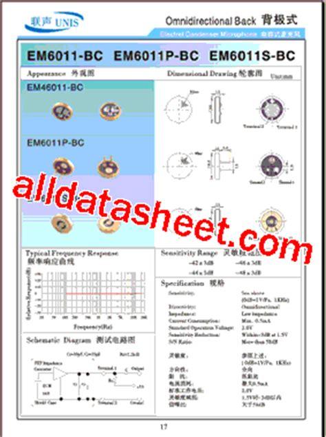 capacitor microphone datasheet em6011 datasheet pdf list of unclassifed manufacturers