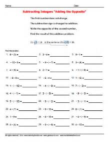 subtracting positive and negative numbers worksheets and