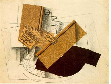braque collage still on a table with gillette 1914 georges