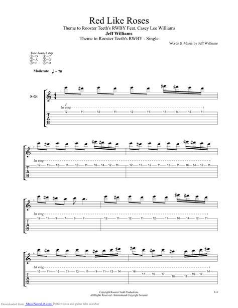 rose theme piano chords jeff williams red like roses rwby theme guitar pro tab