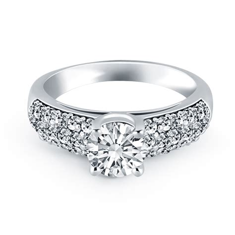 14k white gold tapered pave wide band engagement