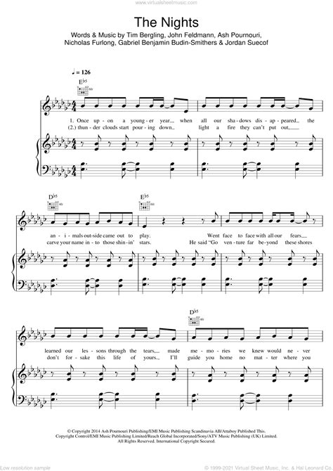 Avicii - The Nights sheet music for voice, piano or guitar