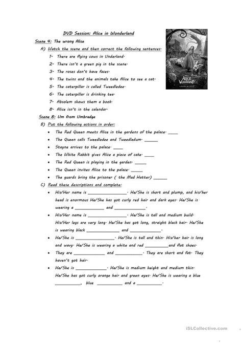 alice in wonderland printable activity sheets 8 free esl alice in wonderland worksheets
