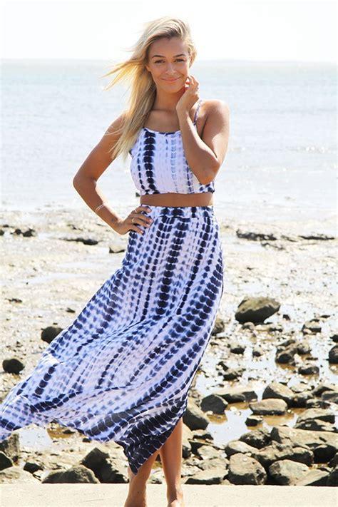 Blue Set Topskirts 9622 blue tie dye maxi skirt and crop top set