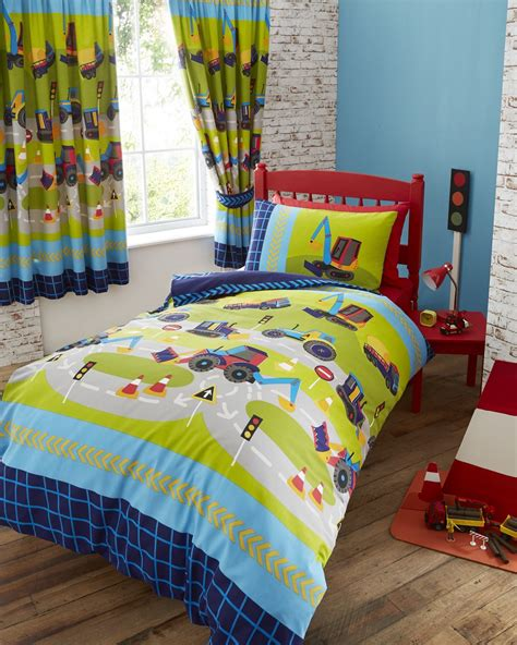 boys curtains and bedding digger trucks boys quilt duvet cover pillowcase bed sets